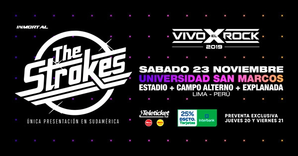 The Strokes en Lima confirmado para el Vivo X El Rock 2019